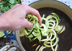 Adding zucchini noodles to paleo pho