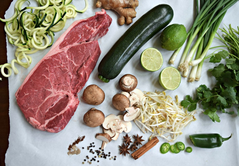 Healthy ingredients for beef and zucchini noodle pho