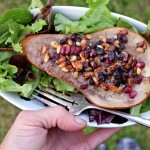 Pomegranate Roasted Pear with Pine Nuts & Blue Cheese lovely way to top a green salad.