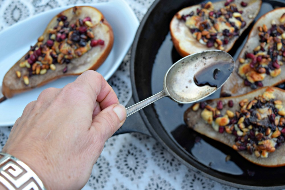 Pomegranate Roasted Pears with Pine Nuts & Blue Cheesethefitfork.com