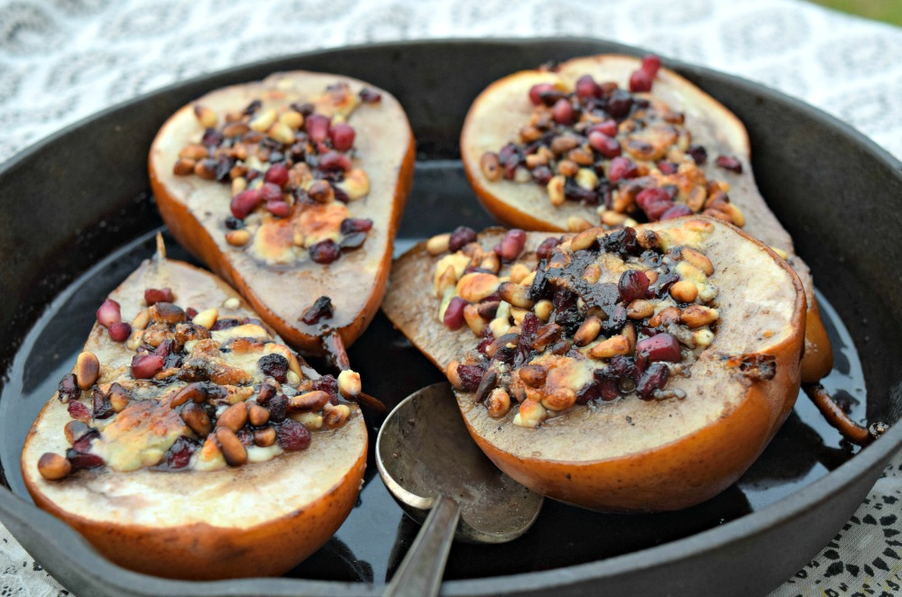 Pomegranate Roasted Pears with Blue Cheese and Pine Nuts