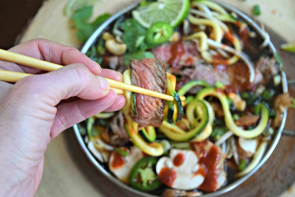 Beef and Zucchini Noodle Pho