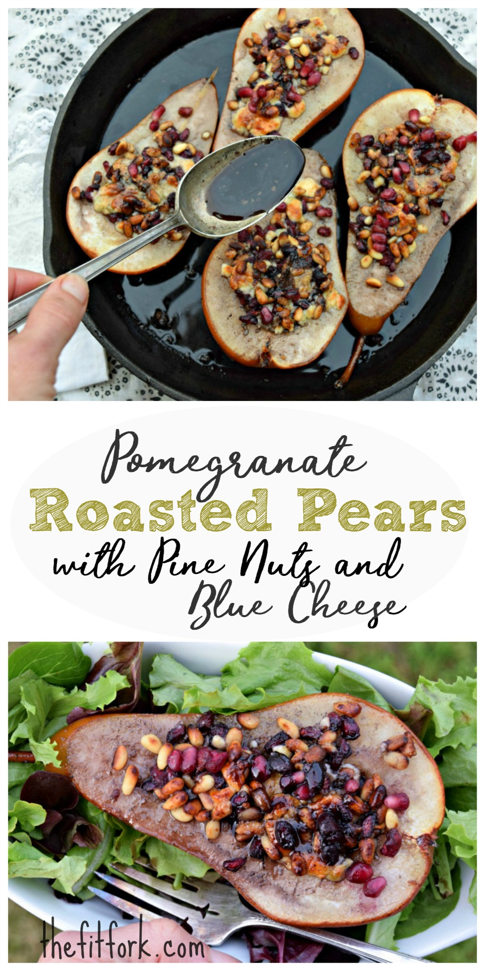 Pomegranate Roasted Pears with Pine Nuts & Blue Cheese makes a simple ...