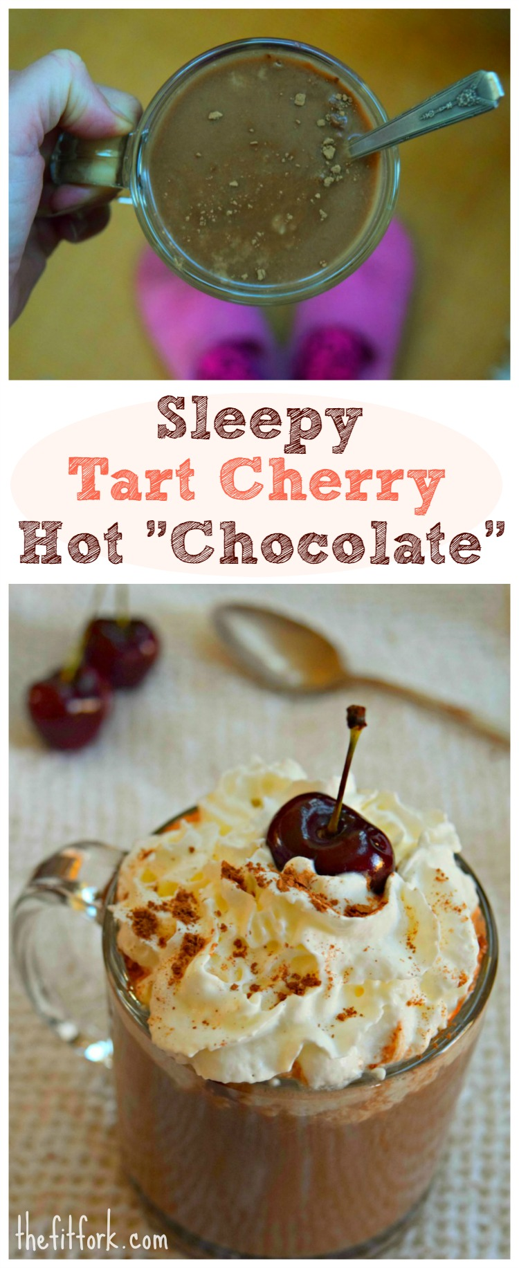 Sleepy Cherry Hot Chocolate features tart cherry juice and almond milk that both help to promote sleep. Additionally, carob powder instead of cocoa power keeps it caffeine free