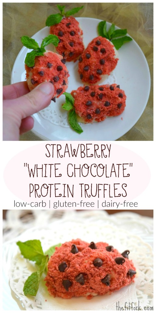 Sugar Free White Chocolate Protein Truffles make a great low-carb Valentine's Day dessert or gift for a sweetheart to eat for post workout recovery.