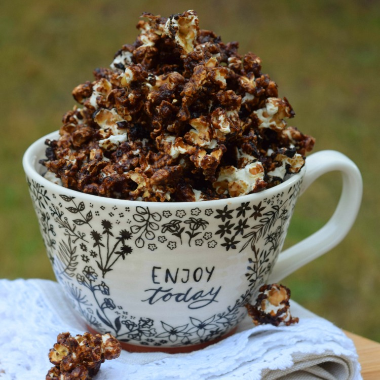 Sugar-Free Caffe Mocha Popcorn makes a healthy snack with under 100 calories per serving.