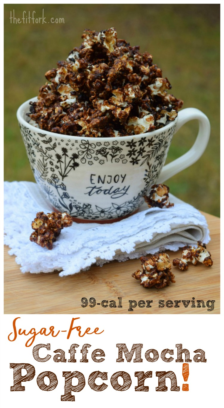 Sugar-Free Caffe Mocha Popcorn is a sensible snack with no sugar and less than 100 calories per serving.