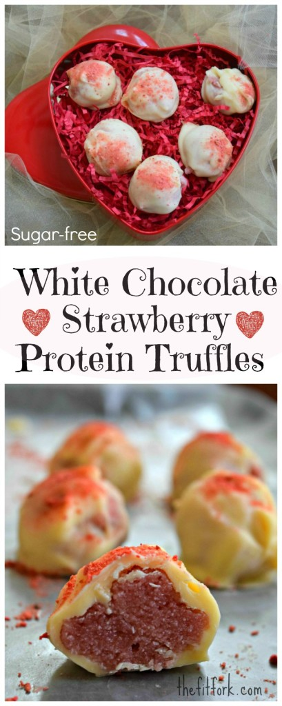 Sugar Free White Chocolate Protein Truffles make a great Valentine's Day snack for a sweetie who likes to workout.