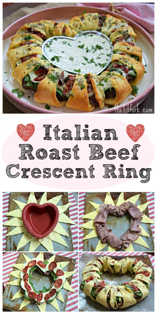 Italian Beef Crescent Ring -- a quick and easy sandwich recipe to share for weeknight dinner, potluck, party, super bowl, Valentines Day or anytime for casual entertaining.