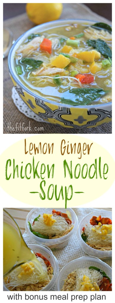 Lemon Ginger Chicken Noodle Soup makes a nourishing lunch or light dinner. It's gluten-free with rice noodles and can be meal-prepped with my bonus instructions.