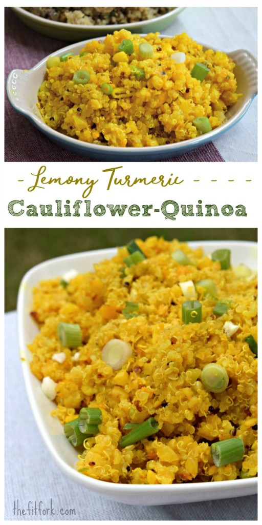 Lemony Turmeric Cauliflower-Quinoa is a 20 minute meal or side dish  that is packed with nutrition. It's just as good cold as hot, making it perfect for packed lunches and dinner.