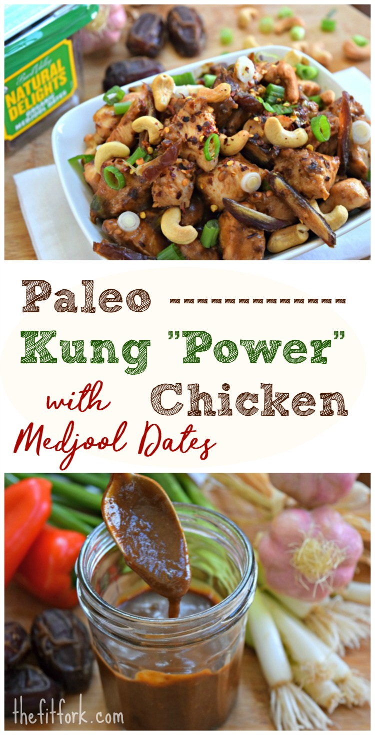 "Paleo Kung ""Power"" Chicken with Medjool Dates - this healthier take on the popular Chinese take-out dish, Kung Pao chicken, uses dates as a way to sweeten the spicy sauce."