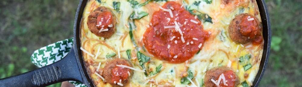 Ranch Spaghetti Meatball Frittata toes