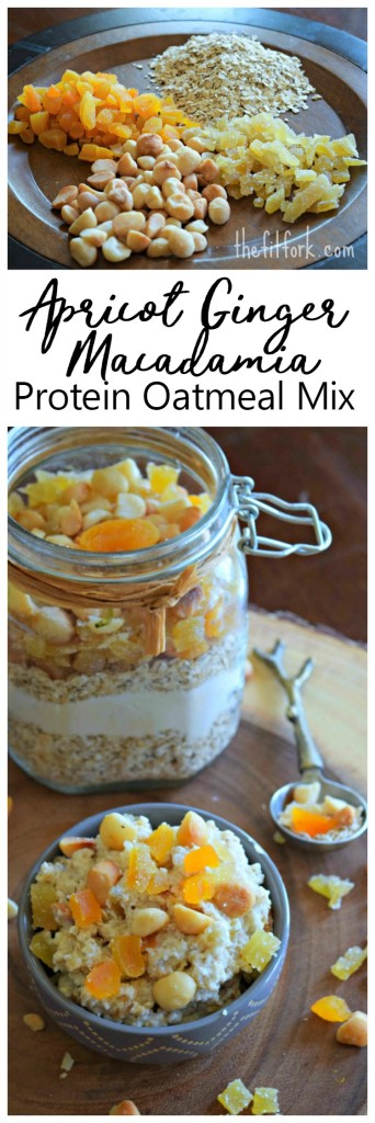 Apricot Ginger Macadamia Protein Oatmeal Mix can be meal prepped as a dry DIY mix or portioned into single serve packets for quick and easy breakfasts.
