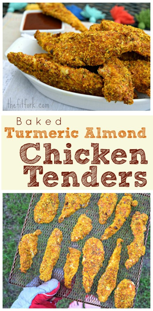 Baked Turmeric Almond Chicken Tenders  are a gluten-free, paleo-friendly 30-minute meal that is perfect for busy weeknight meals. Family friendly, the kids will love this dinner!