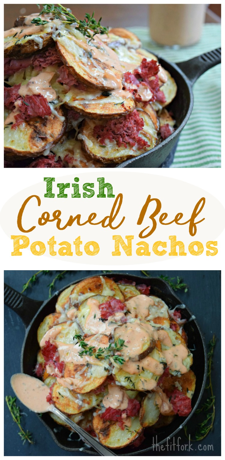 Irish Corned Beef Potato Nachos make a fun St. Patrick's Day appetizer or easy weeknight meal.