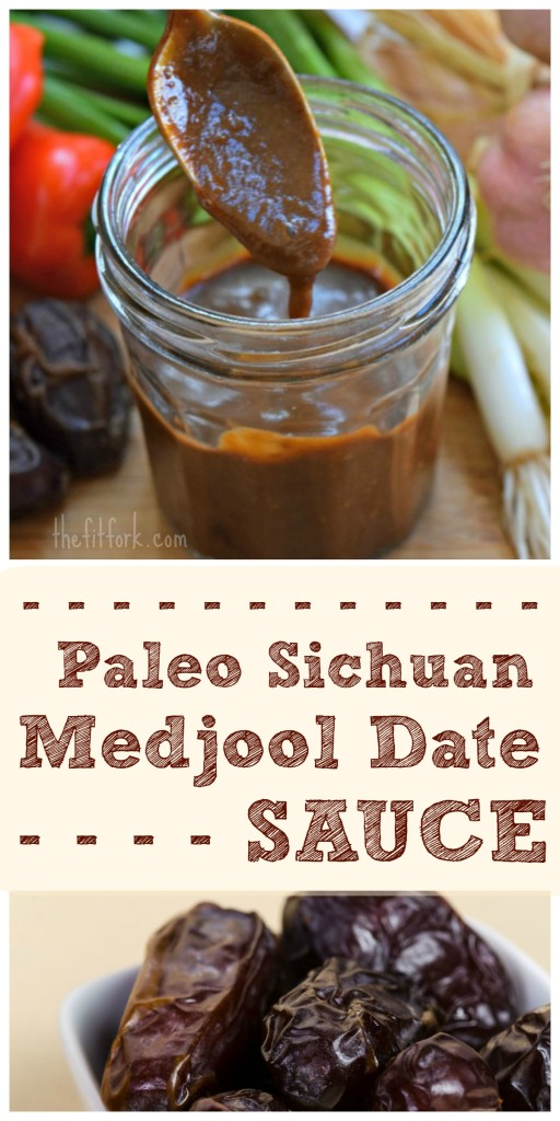 Paleo Sichuan Medjool Date Sauce is soy-free, sugar-free, and corn starch-free. It's delicious on Kun Pao Chicken, a side of salmon, shrimp stir-fry and more.