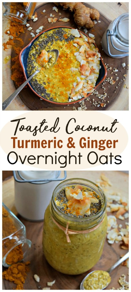 TToasted Coconut Turmeric and Ginger Overnight Oats make a hearty, healthy healing breakfast. Perfect for busy mornings, meals on the go and meal prepping.