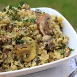 Truffle and Thyme Mushroom Quinoa is a quick and easy side this that packs major flavor solo or puts a juicy steak over the top.