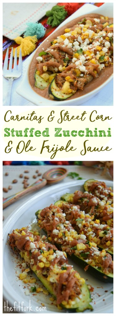 Carnitas & Street Corn Stuffed Zucchini with Ole Frijole Pinto Bean Sauce makes a healthy 30 minute weeknight dinner that the family will love. Easy to make ahead the night before and cook the next day.