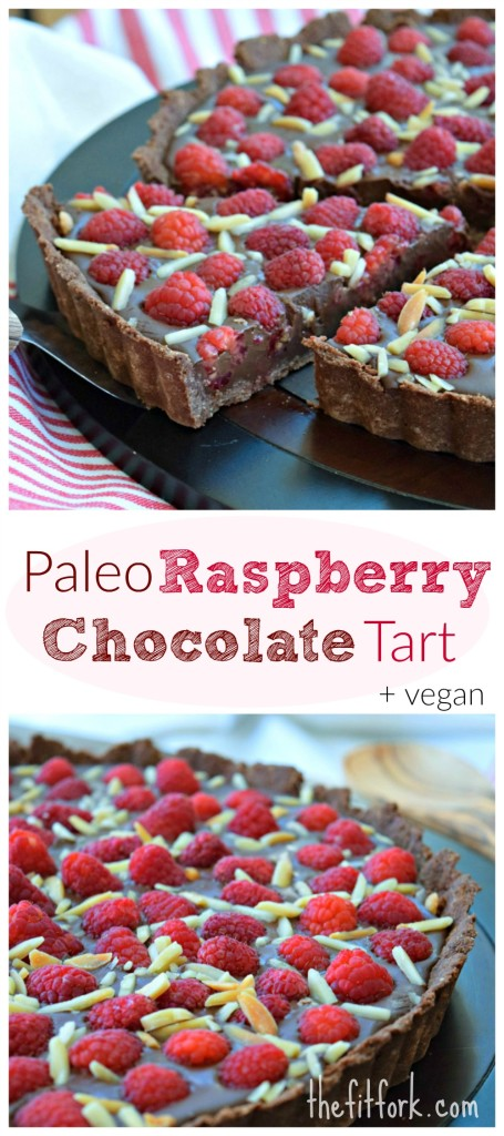 Paleo Raspberry Chocolate Tart is a 30 minute dessert recipe that is showy enough for a special celebration. Crust is gluten free and also no-dairy or honey-- so vegan freindly.