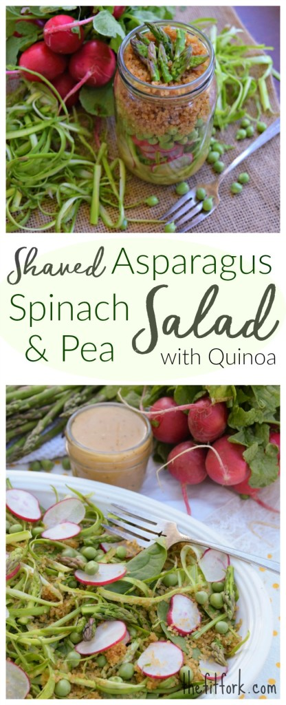 Shaved Asparagus, Spinach and Pea Salad with Quinoa is a farmer's market fresh spring salad  perfect for a vegetarian meal, meatless monday, spring celebration or even to pack in a jar and take to work or school.