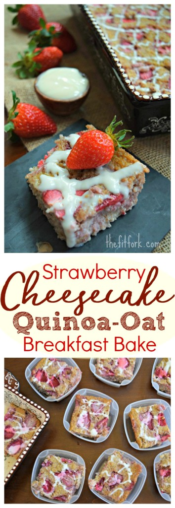 trawberry Cheesecake Quinoa-Oat Breakfast Bake - packed with whole grains, protein and delicious fresh berries, this healthy breakfast recipe has no added sugar and can be meal prepped and frozen for busy weekday morning.s
