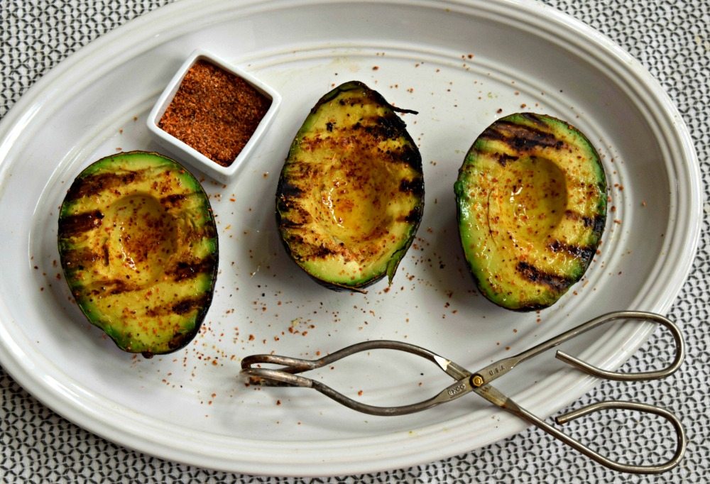 Prepping avocados to grill