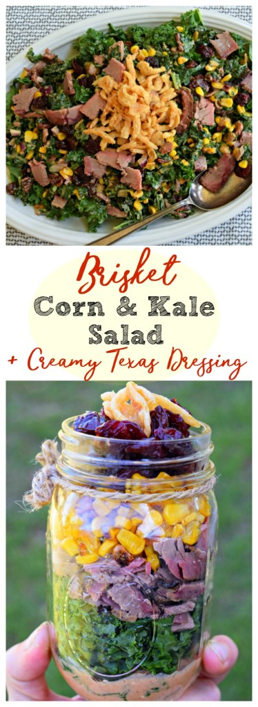Brisket Corn and Kale Salad with Low Fat Creamy Texas Dressing turns leftover beef into a healthy, quick meal for dinner or to back in a jar or lunch box .