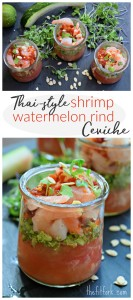 Thai-style Shrimp Watermelon Rind Ceviche is a quick and healthy appetizer or light meal and a clever way to use the whole watermelon. This easy no-cook Asian-inspired recipe is finished in 15 minutes or less.