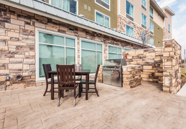 Back patio area at TownPlace Suites - Austin/Techridge location.