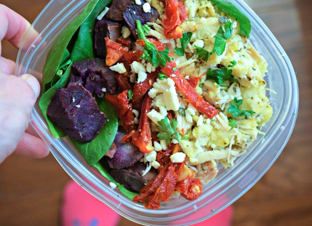 shredded chicken meal prep - egg scramble