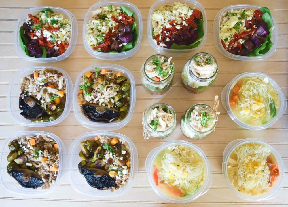 meal prep with shredded chicken