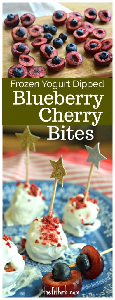 Frozen Yogurt Blueberry Stuffed Cherry Bites are a yummy, healthy fruit dessert for your 4th of July or summer party.