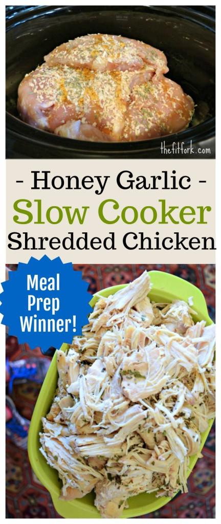 Honey Garlic Slow Cooker Shredded Chicken
