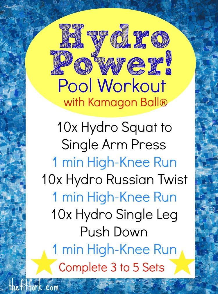 Hydro Power Pool Workout uses the Kamagon Ball by Hedstrom Fitness to help achieve functional fitness with Hydro-Inertia. This dynamic water resistance training features squats, presses, core work, and pool running for a full-body experience.