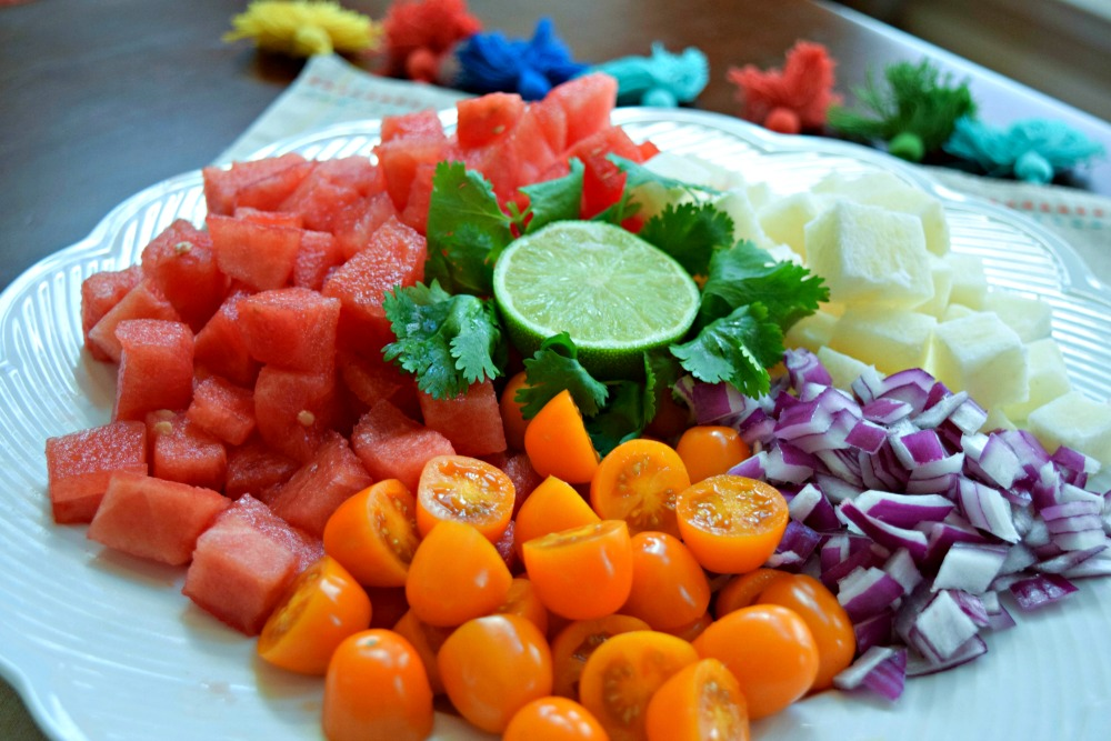 Ingredients fir Watermelon Jicama Tomato salad