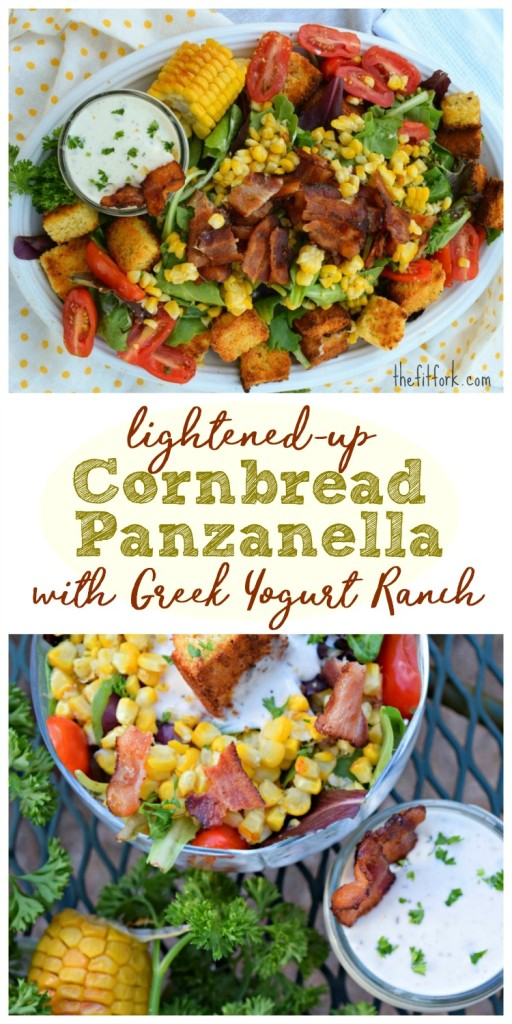 Lightened- up Cornbread Panzanella features sugar swaps and heart-healthy fats in the cornbread croutons and a low fat dressing to top the salad -- hearty and yummy for lunch or dinner.
