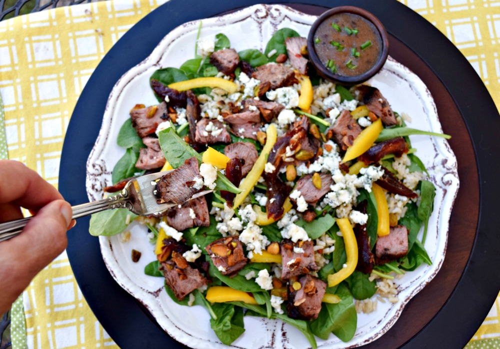 Molasses Steak Salad Dates Blue Cheese overhead