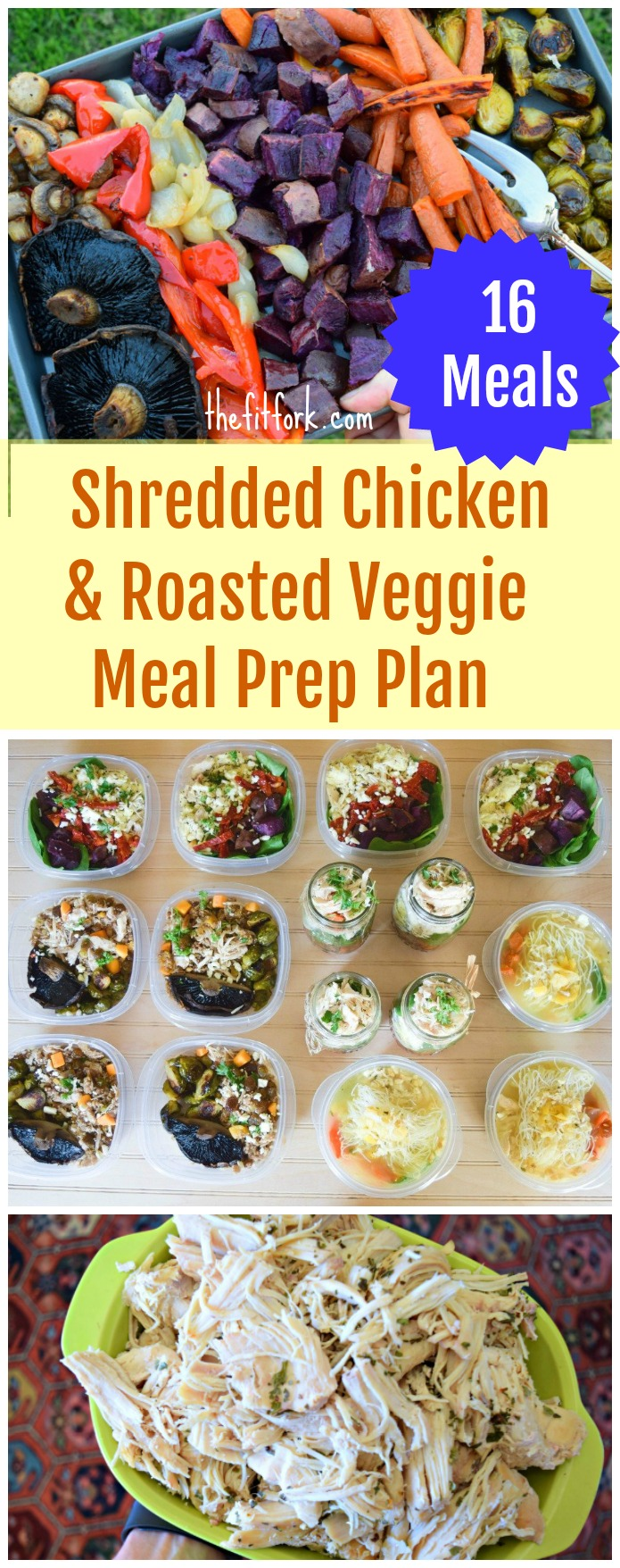 Shredded Chicken & Roasted Veggie Meal Prep Plan - 1 protein, 4 recipes, 16 meals
