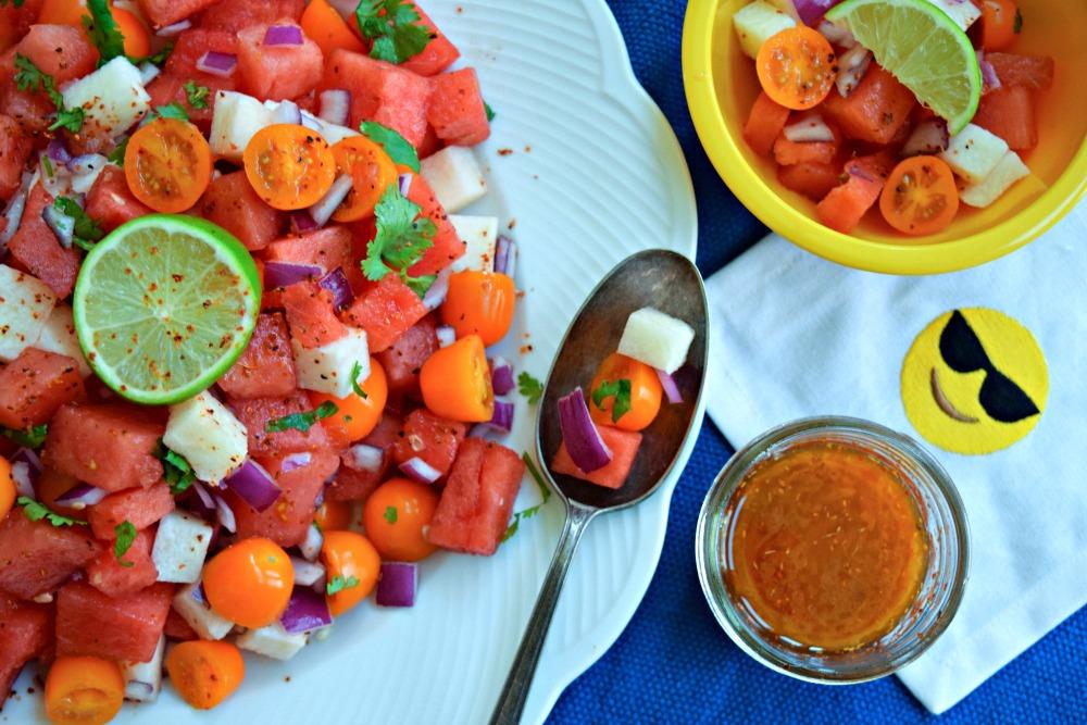Watermelon Tomato Jicama Salad With Tajin Honey Dressing Thefitfork Com