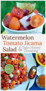 "Watermelon Tomato Jicama Salad with Tajin Honey Dressing is a 10 minute fruit salad recipe that is perfect for summer gatherings from Memorial Day, 4th of July and other casual entertaining. It's hydrating, healthy and has just a slight ""bite"" with a dressing made from honey, lime juice and Tajin chile seasoning."