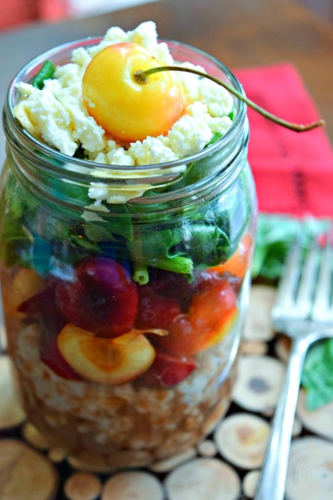 Cherry Wheat Berry Jar Salad