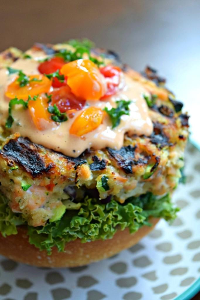 Salmon Zucchini Quinoa Burger