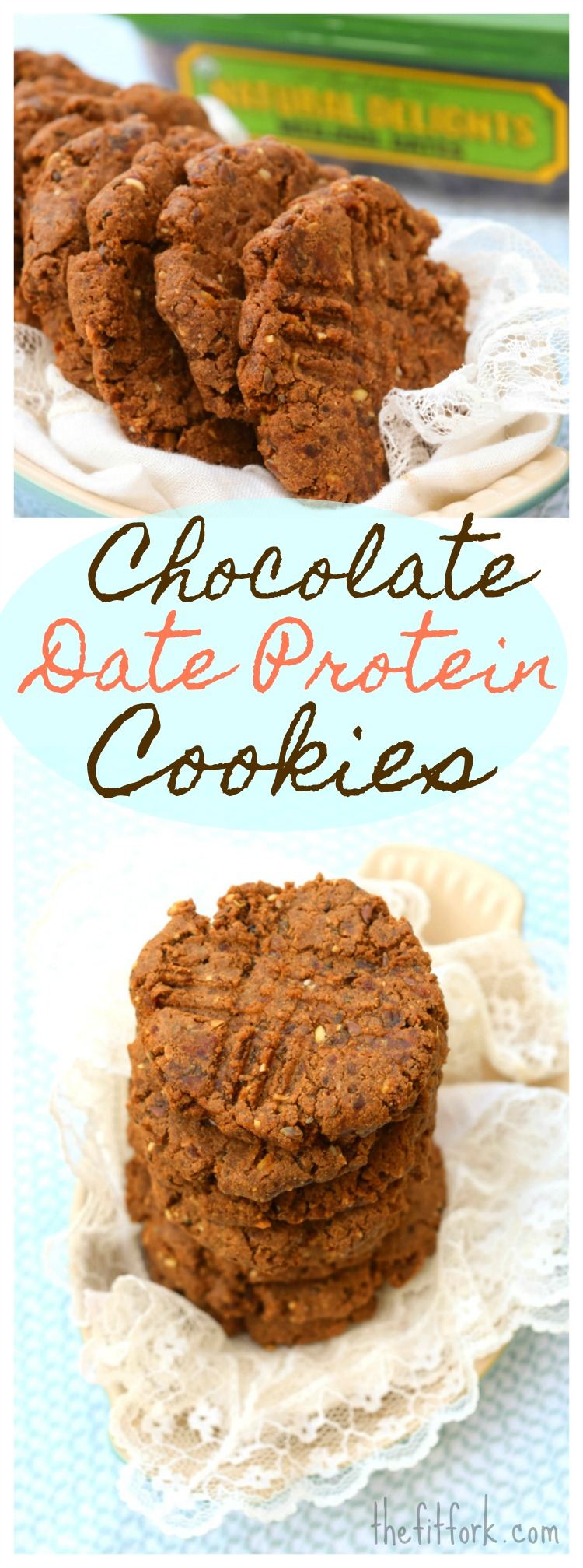 Chocolate Date Protein Cookies - absolutely no refined sugars,  only Medjool dates! Lots of healthy complex carbs balanced by a bit of protein to help optimize sports performance and workout recovery. Also gluten-free and easy to make!