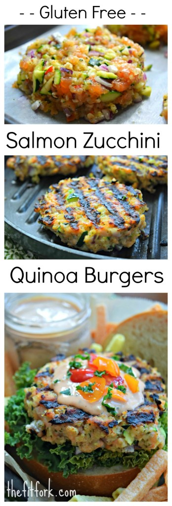 Gluten Free Salmon Zucchini Quinoa Burgers are a delicious option to traditional beef or turkey burgers. Using veggies keeps them moist on the grill and quinoa acts as a allergy-friendly binder.