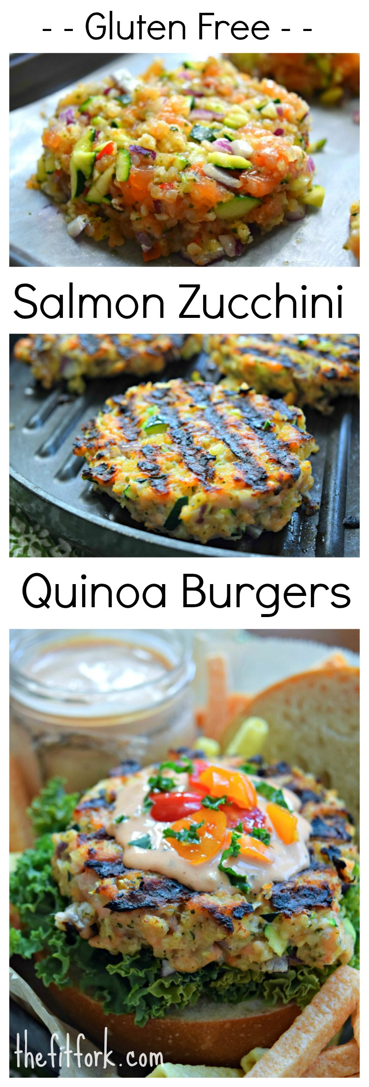 Grilled Salmon Zucchini Quinoa Burgers | thefitfork.com