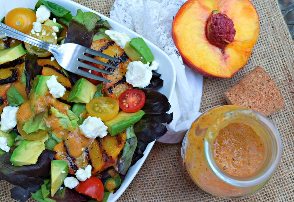 Grilled Peach Chipotle Vinaigrette Dressing on baby greens salad.