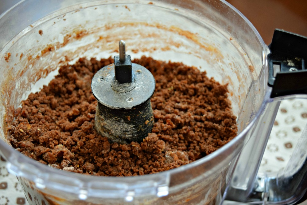 Ingredients in food processor for Date Chocolate Protein Cookies