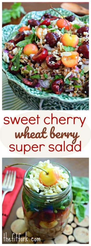 Sweet Cherry Wheat Berry Salad with Balsamic Vinaigrette & Feta makes a beautiful and tasty summer-season salad or side dish.  Can be made ahead and perfect for meal prepping.